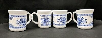Arcopal France Honorine Blue Floral Roses Coffee Cup Mugs Set Of 4