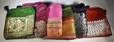 Lot Of 6 2x2 Indian Saree Handmade Hand Sewn Gift Bags Sari Jewelry Ring Earring