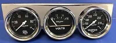 Auto Meter Autogage 2399 Chrome Three Gauge Consol Oil Pressure Volt Water Temp