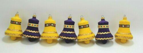 Unique Vintage Western Germany Felt Clad Christmas Tree Ornaments Bells Lot of 7