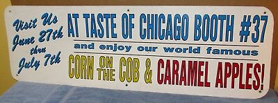 "Vtg/Used TASTE OF CHICAGO 48"" x 15"" Sign Booth 37 Corn & Caramel Apples S552"