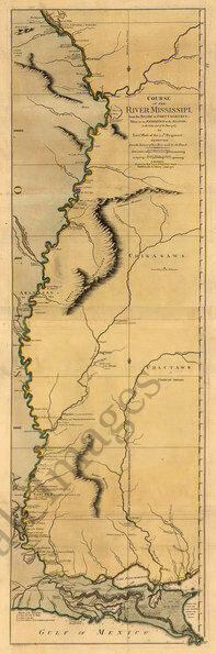 Course of the river Mississippi c1772 map 12.75x36