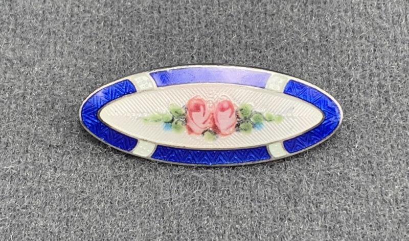 Vintage Art Nouveau Sterling Guilloche Pink Rose Pin Brooch