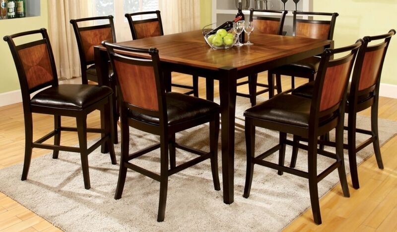 Two Toned Dining Unique 9p Set Counter Height Dining Table & Chairs Black Finish