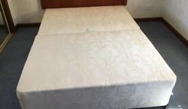 Double bed divan base. Two storage drawers. 2 piece. Castors. Non-smoking home. Buyer to uplift.