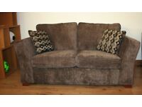 Dark brown plain fabric 2 seater sofa with FREE DELIVERY only £240