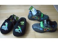 Brand New BEN 10 Alien Force Shoes Size 12 and Slippers Size 13.