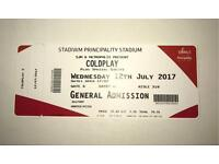 Coldplay tickets, Principality stadium Cardiff 12th July