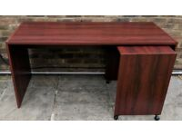 Mahogany Desk with Printer Trolley