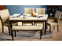 Marble Top & Dark Wood Table, 4 Cream Leather Chairs & Bench FREE DELIVERY 776