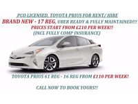 PCO CAR RENTAL, PCO CAR HIRE, UBER READY, TOYOTA PRIUS FOR RENT / HIRE FROM £110/WEEK. UBER READY