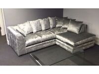 ****SALE SALE SALE NEW CRUSHED VELVET CORNER SOFA ONLY £349 SALE SALE SALE****