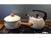Whistling kettle and non stick saucepan, both excellent, kettle never used