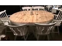 Beautiful shabby chic extending dining table and 6 chairs
