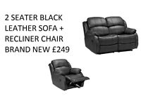 BRAND NEW LEATHER2 SEATER PLUS RECLINER IN BLACK OR BROWN 75%OFF SHOP PRICE