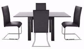 Stylish Black Gloss Extending Table + 4 Leather Chairs NEW