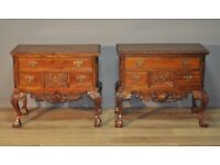 Attractive Pair of 2 Carved Hardwood Side Cabinets, Sideboards on Cabriole Legs