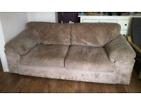 Beige Fabric 3-Seater Sofa