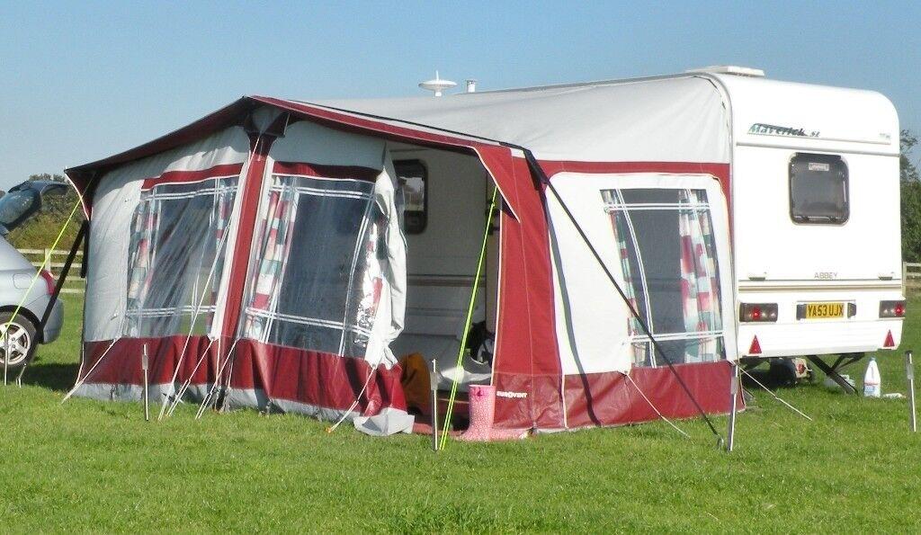Caravan awning. Eurovent size G 890-920cm. Maroon/light ...