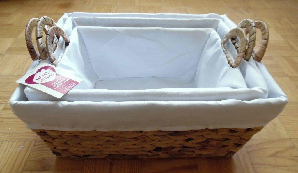 Set of 3 Nesting Lined Hyacinth Baskets with Handles (New with Tag) by Heart of Housein Barrhead, GlasgowGumtree - Set of 3 Nesting Lined Hyacinth Baskets with Handles (New with Tag) by Heart of House New & unused (Bought as a gift, but not given). Nesting set of 3 baskets 1 x W44 x D34 x H20cm 1 x W40 x D29 x H19cm 1 x W36 x D24 x H16cm This advert will be...