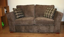 Dark brown plain fabric 2 seats sofa with FREE DELIVERY only £220