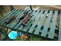 Greenhouse potting planting table green aluminium