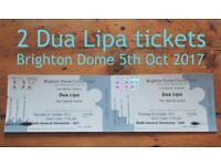 2 Tickets for Dua Lipa in concert at Brighton Dome 5th October 2017