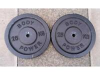 2 x 25kg Body Power metal weight plates