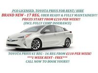 £110/WEEK-PCO CAR HIRE/RENT,UBER READY!! BRAND NEW 17 REG FOR £210/WEEK INCL FULLY COMP INSURANCE