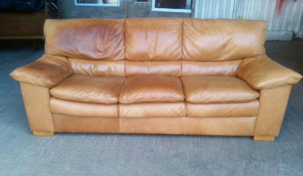 Tan Leather 3 Seater Sofa