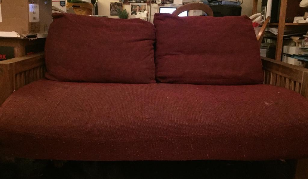 Oke 2 Seater Solid Oak Sofa Bed From The Futon Company
