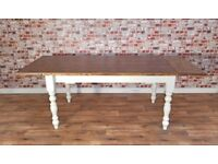4ft Extending to 6ft Farmhouse Pine Dining Kitchen Table - Free Delivery