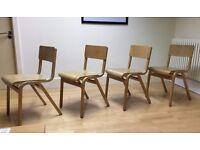 Set of 4 Vintage Retro School-Style Chairs