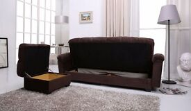 - ITALIAN FABRIC 3 SEATER SOFA BED - CONVERT INTO BED WITH - MASSIVE STORAGE WITH - CUP HOLDER -