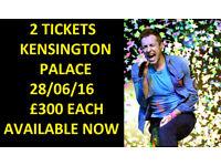 2 x Coldplay Tickets London Kensington Palace £300 each