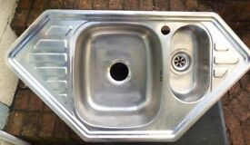 Stainless Steel Corner Sink. 1 & 1/2 bowl 2 small drainers, and mixer tap.