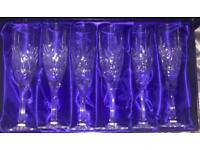 St Andrews Crystal Cut Champagne Glass Set
