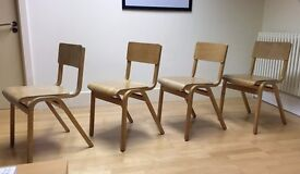 Set of 4 Vintage Retro School-Style Chairs