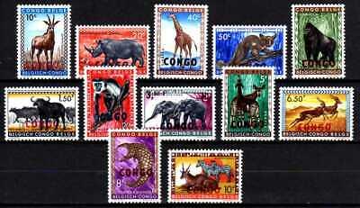 Belgisch Congo Belge Rep. Congo n° 400/411 MH Animals Overprinted CONGO c8.00Eu