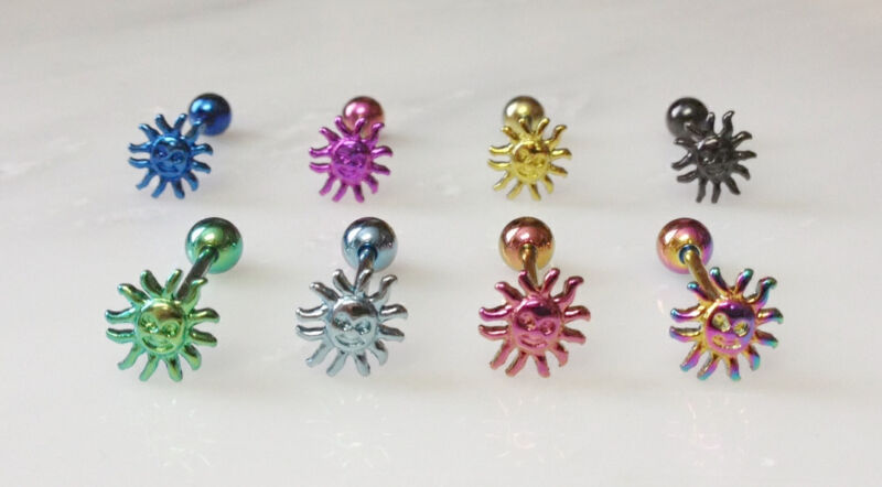 T#86 - 8pc Titanium Anodized Sun Tongue Rings Tounge