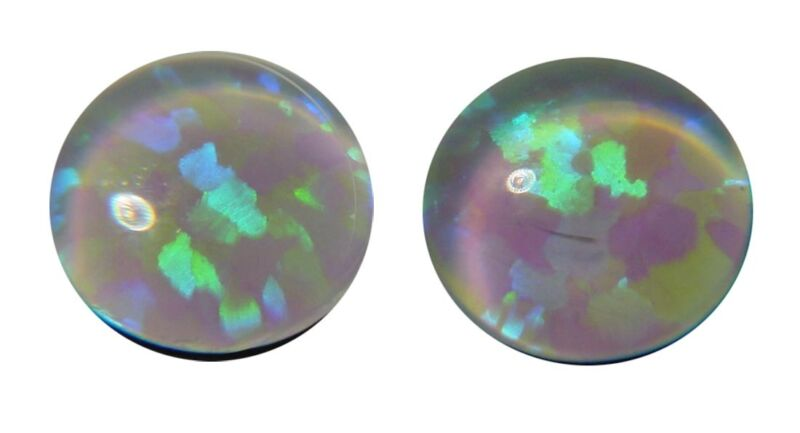 BUTW (4) Gilson White Opal 6mmx2mm round triplet cabochon gems lapidary 4649D