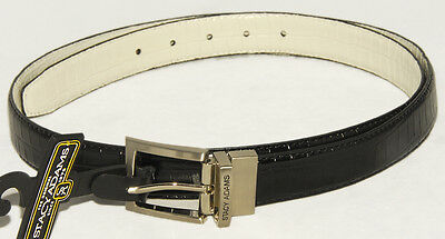 (STACY ADAMS - Reversible - Black & White - GENUINE LEATHER Dress BELT sz 42 *NEW)