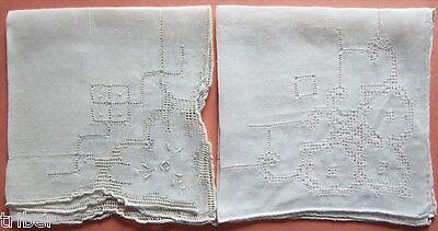 2 Vintage Handkerchiefs Embroidered Openwork  Flowers White Wedding Bride