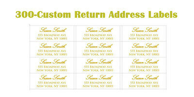 300 Custom Printed Center Aligned Gold Script Return Address Labels 1 X 2-58
