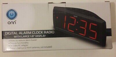 ONN Digital Alarm Clock Radio w/ Large 1.8 Display Digital AM/FM Open Box
