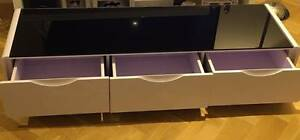 Maestro Lowline TV Unit White High Gloss with Black Glass Top Doncaster Manningham Area Preview