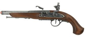 Denix Left-Handed English Flintlock Pistol Replica Gun - Gray Finish