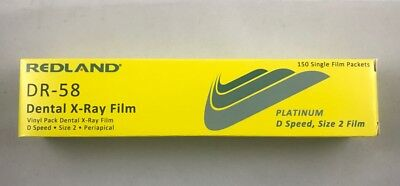 Dental X-ray Film D Speed Size 2 150 Single Film Pk Dr-58 Redland -fda