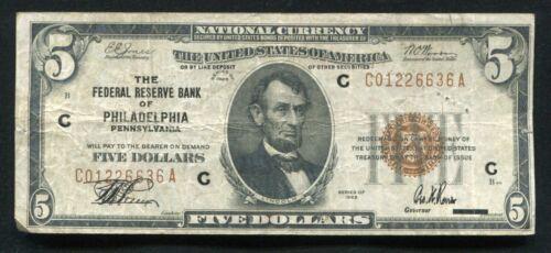 FR. 1850-A 1929 $5 FRBN FEDERAL RESERVE BANK NOTE PHILADELPHIA, PA