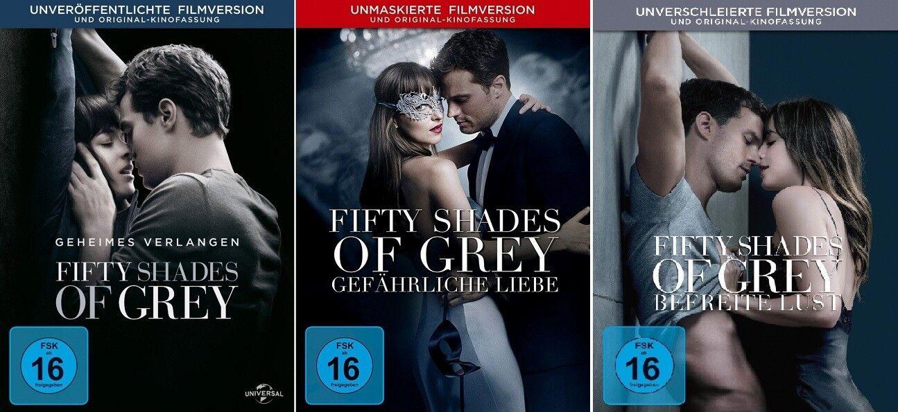 3 DVDs * FIFTY SHADES OF GREY - FILM 1  + 2 + 3 IM SET # NEU OVP +